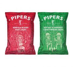 Pipers Crisps - no hace falta poner patatas crujiendo como si fueran el Armaggedon para que un packaging resulte interesante...
