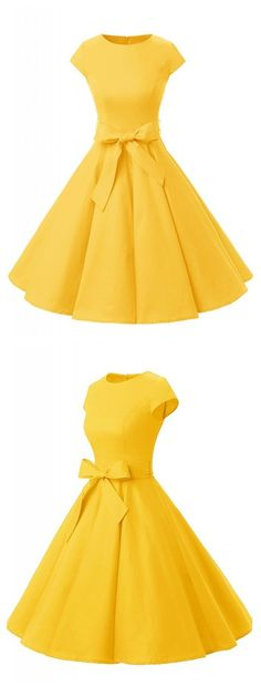 Yellow Party Dress, Party Cocktail Vintage Style Dress, Solid Cap Sleeves Dress, Elegant Cocktail Dress
