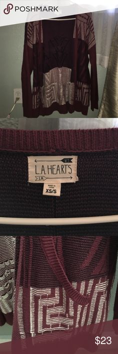 La.A. Hearts Geometric Patterned Sweater Dark burgundy open sweater with black and white detail (NEW WITHOUT TAGS) L.A Hearts Sweaters Cardigans