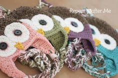 Crochet earflap hat free pattern for infant, child and adult sizes. The owl is very cute and can also be made without the face and would still be adorable.
