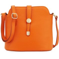 Neiman Marcus Framed Dome Leather Crossbody Bag (491355 PYG) ❤ liked on Polyvore featuring bags, handbags, shoulder bags, orange, zip shoulder bag, crossbody handbag, crossbody purse, genuine leather handbags and leather purse