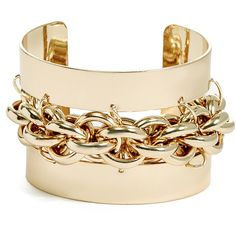 GUESS Dina Chain Link Cuff ($48) ❤ liked on Polyvore featuring jewelry, bracelets, gold, yellow gold jewelry, holiday jewelry, evening jewelry, gold bangles and cuff jewelry