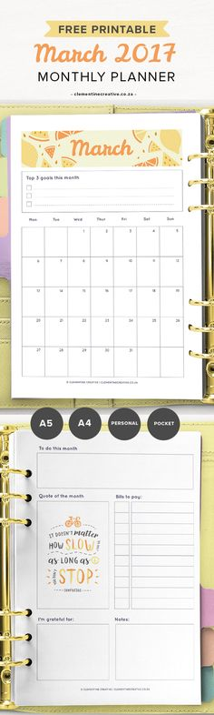 Get organised with this March 2017 monthly planner. It includes a calendar and a separate page to help you remember this month's tasks. Get it for free in your inbox every month!