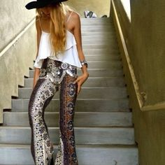 Wide leg high waisted printed pants