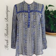 "Lucky Brand Beaded Tunic Tunic length top, buttons half way down the front.  Bead embellished bodice. Split side hemline.  100% Rayon   Bust: 41"" Length: 27"" Sleeve Length: 22""  🚫Trades ✅Bundle and save Lucky Brand Tops Tunics"
