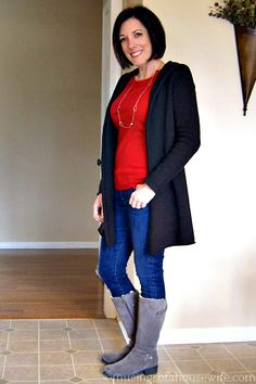 Mom Style | drapey sweater and boots