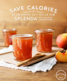 Each time you swap out sugar for SPLENDA® No Calorie Sweetener in this peach jam, you save calories. Spread it on your morning toast for a sweet start, sure to keep you jamming out for the rest of the day.