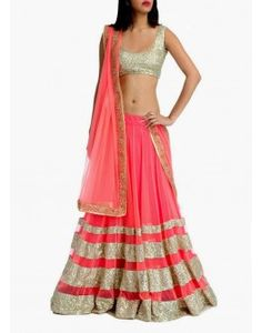 Bollywood Replica Cream and Pink Net Lehenga Choli