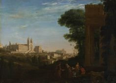 "VIEW OF ROME WITH THE TRINITÀ DE ' MONTI. 1632. oil on canvas. 59,5 × 84 cm. Signed and dated "" CLAVDE. I.V/ ROMAE 1632 "". London. The National Gallery. Inv. No. NG 1319  ( MRP 214 )."