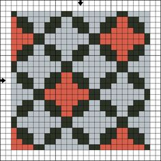 Free Tile One Counted Cross Stitch Pattern - Free Printable Cross Stitch Chart: Free Cross Stitch Tile Pattern One - Three Color Version