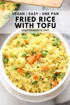 This easy and healthy Vegan Fried rice recipe is filled with colorful veggies, protein-rich tofu, and authentic flavor! Create in one skillet in 20 minutes! Recipes Using Tofu, Rice Recipes Vegan, Vegan Dinner Recipes, Delicious Vegan Recipes, Vegan Dinners, Vegetarian Recipes, Healthy Recipes, Vegan Food, Cooking Recipes