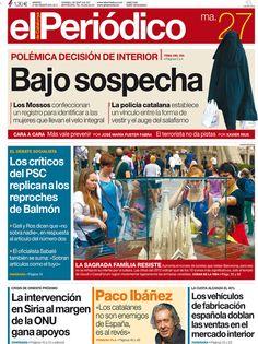 Los Titulares y Portadas de Noticias Destacadas Españolas del 27 de Agosto de 2013 del Diario El Periódico ¿Que le pareció esta Portada de este Diario Español?