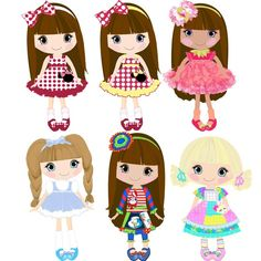 Doll clip-digital Etsy Clipart 18png300dpi for commercial and personal use.