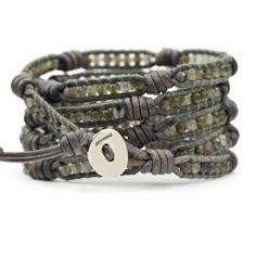 Labradorite Wrap Bracelet on Knotted Natural Grey Leather