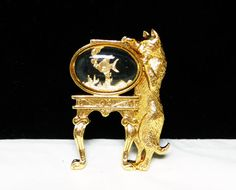Kitty Cat and Fish Bowl Brooch  Goldtone by thejewelseeker on Etsy