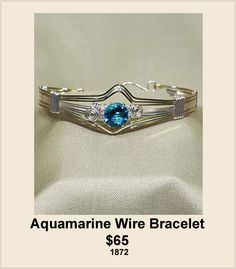 Aquamarine Wire Wrapped Bracelet handcrafted by Just Ask Creations $65. http://www.justaskcreations.com/Wire-Sculpture-Collection.html