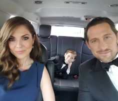 Here they are in the car on the way to the Oscars. | The Hottest People At The Oscars Are Jacob Tremblay's Parents