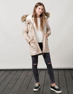 BSK lined parka with detachable fur - Coats - Bershka Taiwan