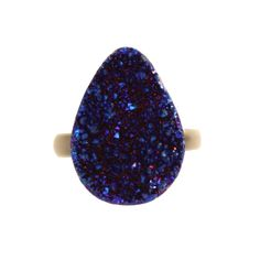 Navy Druzy Crystal Ring