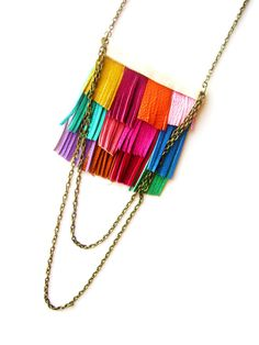 Fringe Leather Bib Necklace Native Rainbow and by BooandBooFactory, $78.00