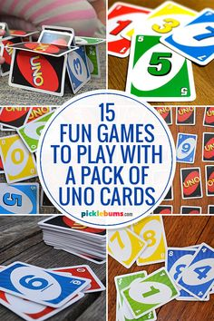 Fun Games You Can Play With Uno Cards - Picklebums Family Card Games, Fun Card Games, Card Games For Kids, Group Card Games, Playing Card Games, Activity Games, Activities For Kids, Dice Games, Games To Play With Kids