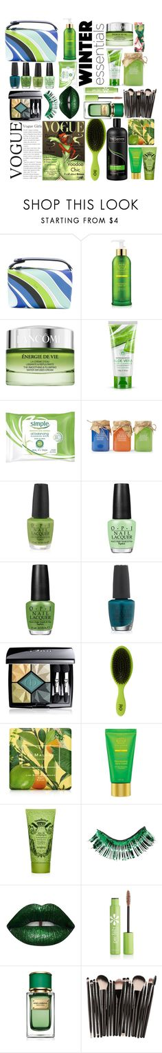 """""""Lush Green Vogue's Choices"""" by pulseofthematter ❤ liked on Polyvore featuring beauty, Emilio Pucci, Tata Harper, Lancôme, La Bella Provincia, OPI, Christian Dior, Disney, R+Co and Jo Malone"""