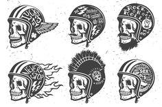 Motorcycle handmade drawing helmets - Illustrations