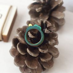 Colorful Woodsy Stacking Ring Colorful Art Green and by WoodsyS
