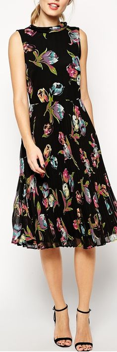 tulip print dress w/ cardigan