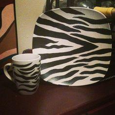 Zebra Print dish and mug set of 4 by Sassygrldecor on Etsy, $45.00