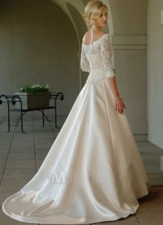 Lace Sleeves Off-The-Shoulder Satin Wedding Dress