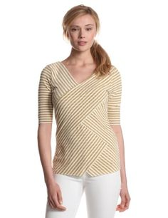 Vince Camuto Women`s Elbow Sleeve Sparkle Stripe Bandage Top ♥
