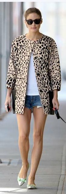 Olivia Palermo's flat metal shoes and leopard print coat