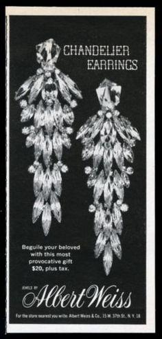 1961-Albert-Weiss-costume-jewelry-Chandelier-earrings-photo-vintage-print-ad
