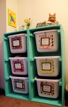 Labeled laundry baskets with diy shelving for toy storage