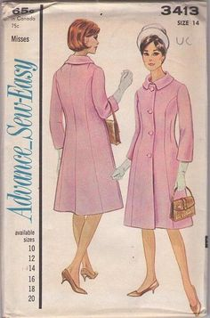 MOMSPatterns Vintage Sewing Patterns - Advance 3413 Vintage 60's Sewing Pattern Sew Easy SUPERB Audrey Hepburn Princess Seams Fit & Flared C...