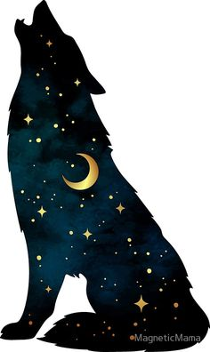 Wolf Silhouette with Stars and Moon Sticker by MagneticMamaYou can find Stars and more on our website.Wolf Silhouette with Stars and Moon Sticker by MagneticMama Wolf Silhouette, Silhouette Painting, Artwork Lobo, Wolf Artwork, Anime Wolf, Animal Drawings, Cute Drawings, Wolf Drawings, Wolf Painting