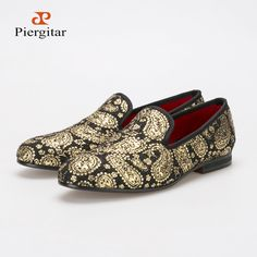 db9340d3478 sale Men s loafers 2016 new exquisite gilt embossed flats black and gold  shoes… Black Flats