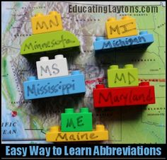 Easy Way to Learn State Abbreviations – from Educating Laytons. Could change to … Easy Way to Learn State Abbreviations – from Educating Laytons. Learning Tools, Learning Activities, Kids Learning, Activities For Kids, Teaching Ideas, States And Capitals, Future Classroom, Classroom Ideas, Social Studies