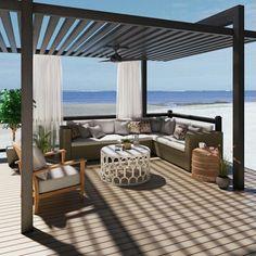 Deck With Pergola, Outdoor Pergola, Pergola Lighting, Backyard Pergola, Patio Roof, Outdoor Seating, Outdoor Spaces, Outdoor Decor, Pergola Kits