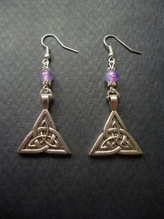 Triquetra earrings  Celtic Knot charms  Pagan by BleedingHD