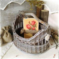 Купить Мартовский короб плетеный - серый, корзиночка старинная, старая, плетеная, деревенская, для дачи