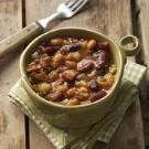 Old Settlers Baked Beans - most recipes have butterbeans in them, this one doesn't. Also, I dice up a sweet pepper and throw it in with the onion.