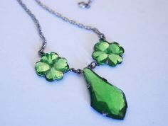 Vintage Vauxhall glass necklace.  Green by chicvintageboutique, $65.00