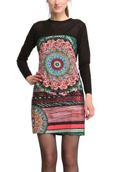 Desigual women's Shuin dress. Really feminine: the fine knit on the upper part of this dress is practically sheer.