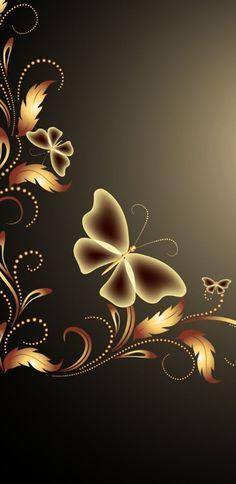 Golden Butterfly w/Taupe Bck grnd Grape Wallpaper, Bling Wallpaper, Brown Wallpaper, Flower Phone Wallpaper, Apple Wallpaper, Butterfly Wallpaper, Butterfly Art, Cellphone Wallpaper, New Wallpaper