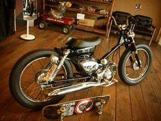Custom Mini Bike, Scooter Custom, Custom Bobber, Custom Bikes, Honda Bobber, Bobber Motorcycle, Motorcycle Outfit, Motorcycles, Honda 90
