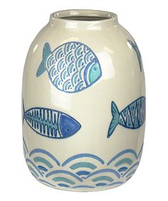 Sagebrook Home Light Blue & Beige Fish Vase | zulily