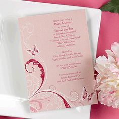 Elegant In Pink Baby Shower Invite