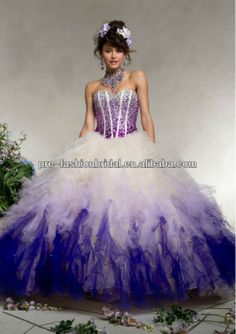 quinceanera dresses pink and white ruffles | ... Gown Beded Tulle With Ombre Ruffled Purple And White Quinceanera Dress